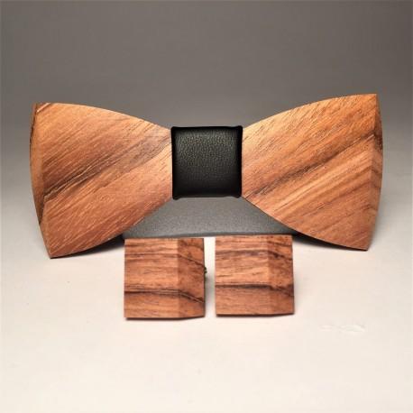 Drewniana muszka z poszetką