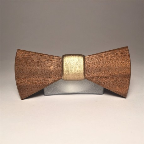 Wooden bow tie GOLD ONE UNIQUE