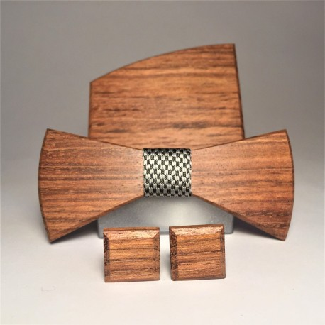 Wooden bow tie with cufflinks and pocket square