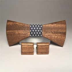 Wooden bow tie with cufflinks V. MALAGA