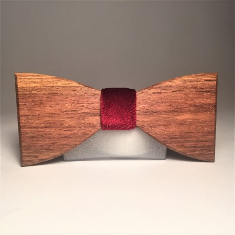 Wooden bow tie VELOURS RED