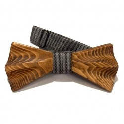 Hand-carved wooden bow tie