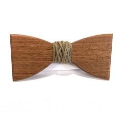 Drewniana muszka z jutowym sznurkiem
