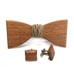 Drewniana muszka z jutowym sznurkiem i spinki do mankietów
