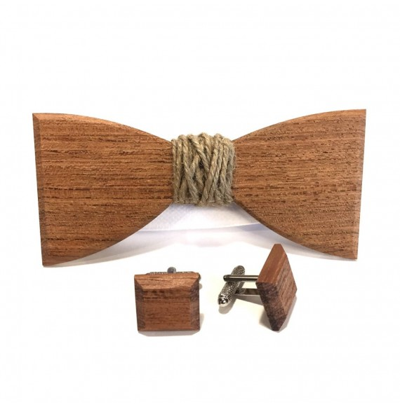 Wooden set with a jute twine