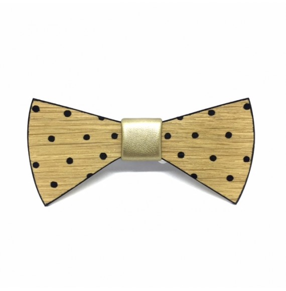Hand-painted wooden bow tie BLACK DOTS