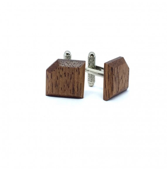 Wooden cufflinks RUSTIC GOLD