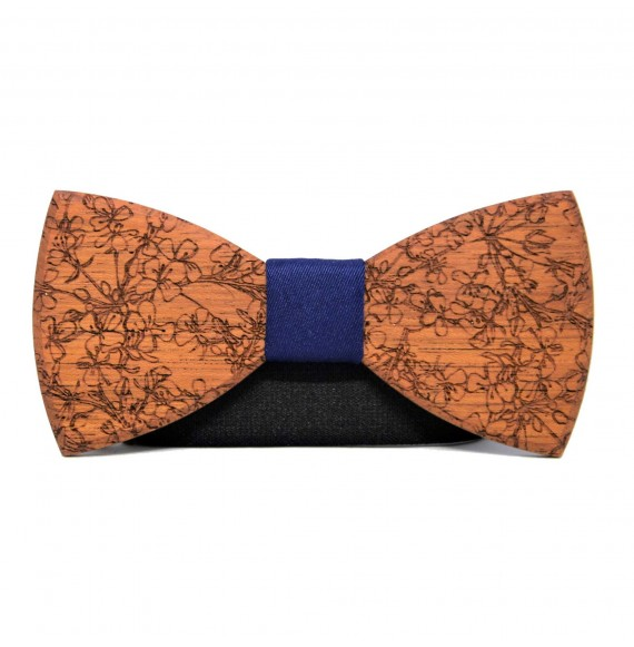 Wooden bow tie BOHO FLOWERS