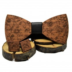 Wooden bow tie and cufflinks RUSTIC III