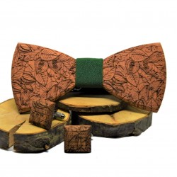 Drewniana muszka i spinki do mankietów RUSTIC