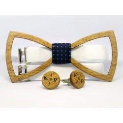 Wooden bow tie and cufflinks LATTICE OAK