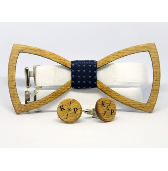 Wooden cufflinks and bow tie LATTICE OAK