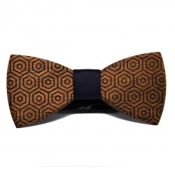 Wooden bow tie with geometric patterns No1