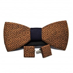 Wooden bow tie and cufflinks with geometric patterns No 1