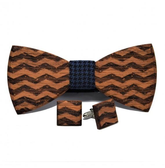 Drewniana muszka i spinki do mankietów we wzory