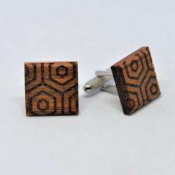Drewniane spinki do mankietów we wzory geometryczne No1