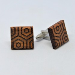 Wooden cufflinks with geometric patterns No1