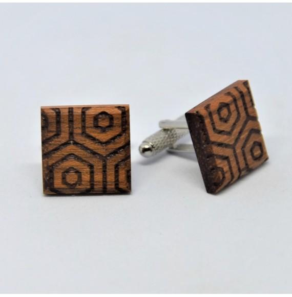 Drewniane spinki do mankietów w geometryczne wzory No1