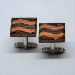 Wooden cufflinks with geometric patterns No2