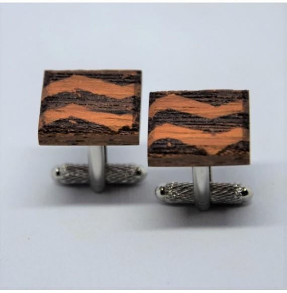 Drewniane spinki do mankietów w geometryczne wzory No2