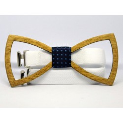 Wooden bow tie LATTICE OAK
