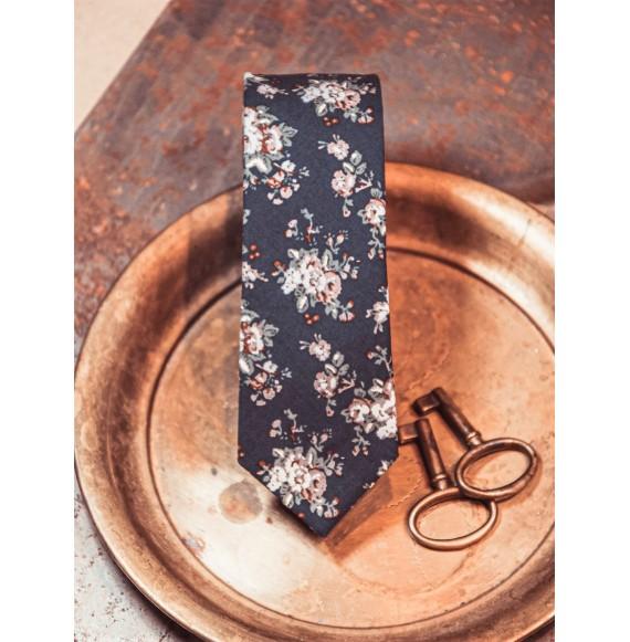 Krawat w kwiaty model wąski