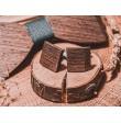 Drewniana muszka ze spinkami do mankietów ciemne drewno Wenge