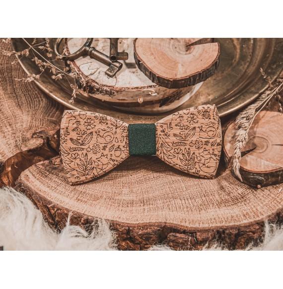 Drewniana muszka BOHO GREEN