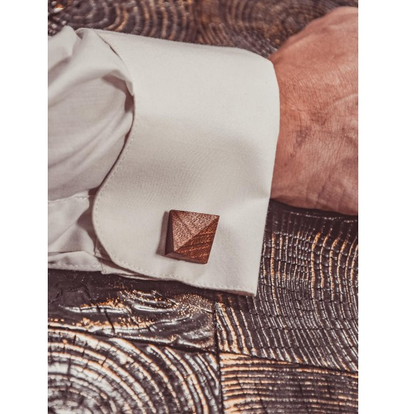 Wooden cufflink LATTICE
