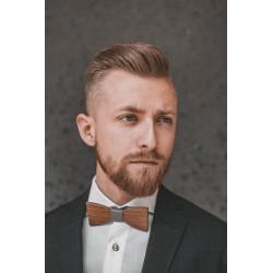 Wooden bow tie GREY LATTICE