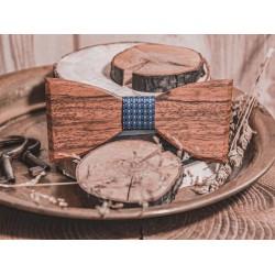 Drewniana muszka ELEGANT BLUE LATTICE