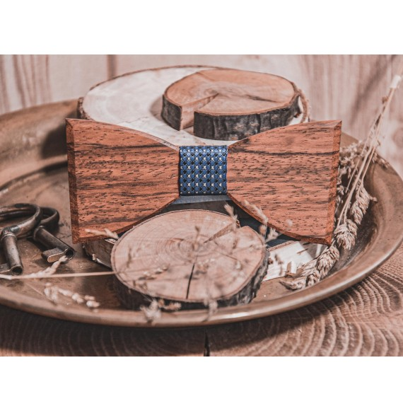 Wooden bow tie ELEGANT BLUE LATTICE