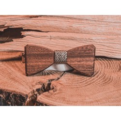 Wooden bow tie RUSTIC GOLD