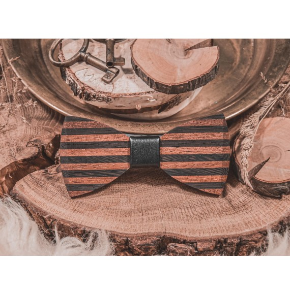 Wooden bow tie UNIQUE STRIPES