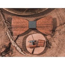 Drewniana muszka ze spinkami do mankietów