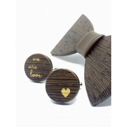 Wooden cufflinks WE ARE LOVE