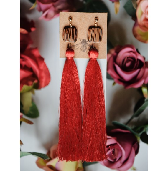 Red fringes earrings
