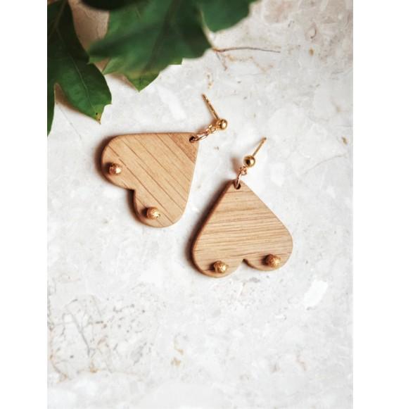 Drewniane kolczyki cycuszki wiszące