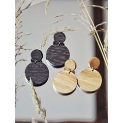 Drewniane kolczyki kółka wiszące
