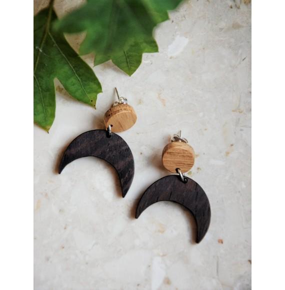 Drewniane kolczyki kółko księżyc