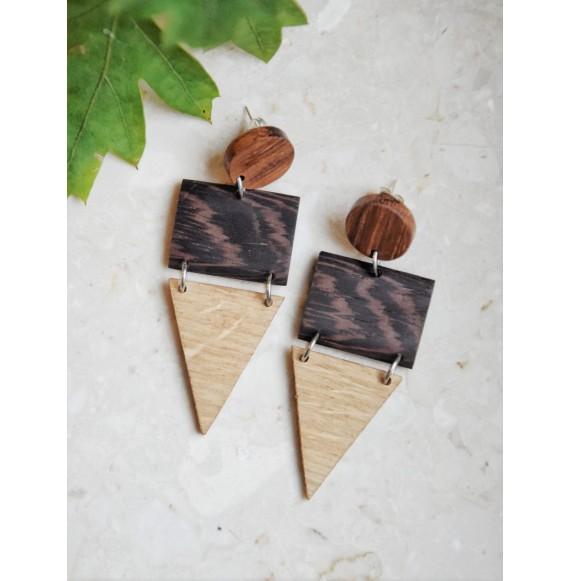 Drewniane kolczyki geometryczne