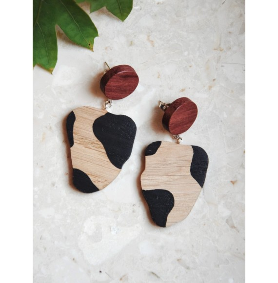 Wooden earrings cow