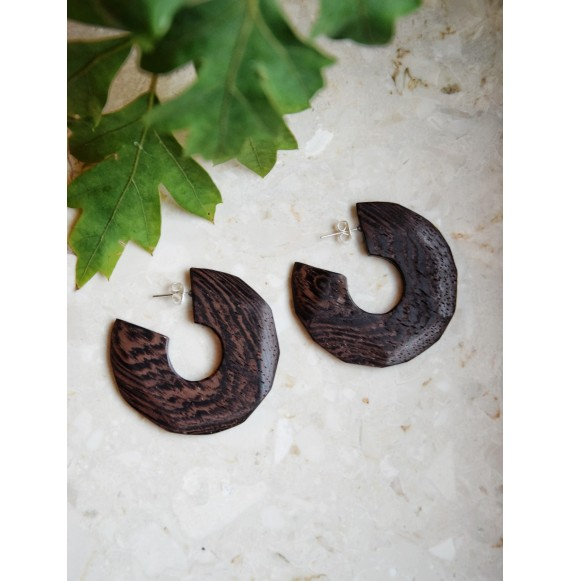 Wooden earrings cow patches