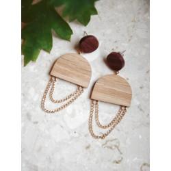 Drewniane kolczyki z łańcuszkiem