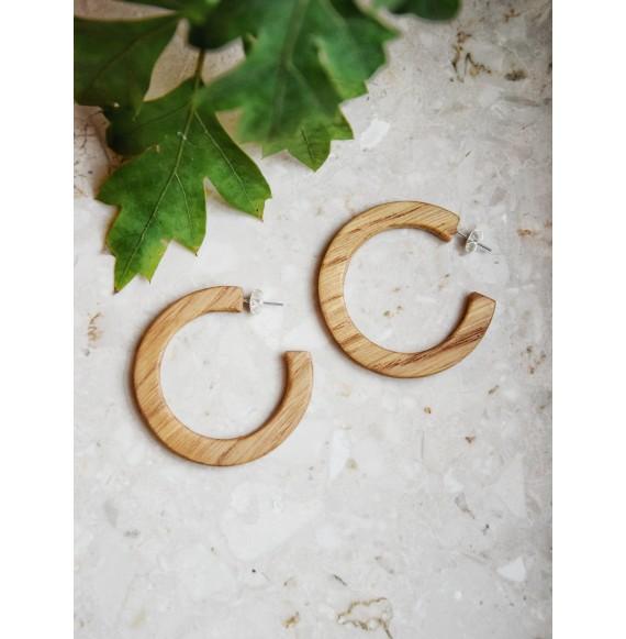 Drewniane kolczyki koła