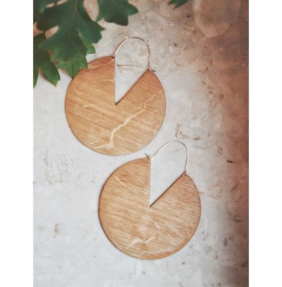 Duże drewniane kolczyki koła
