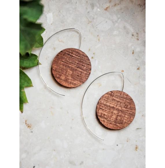 Drewniane okrągłe kolczyki srebro próba 925